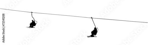 Fototapeta silhouette of a ski lift