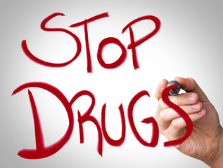 """Stop Drugs"" Hand writing with red marker"