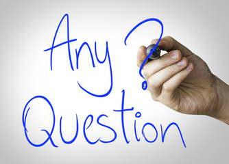 Any Question hand writing on blue marker