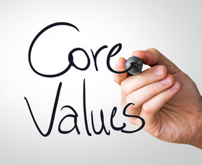 Core Values hand writing with a black mark