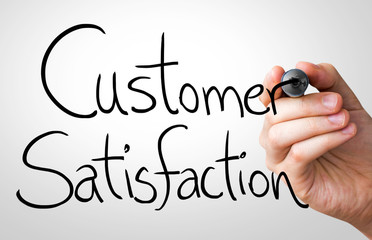 Customer Satisfaction hand writing with a black mark