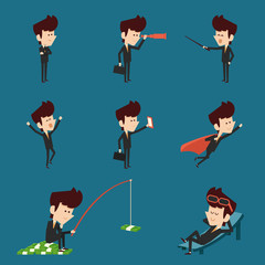 businessman character flat design collection