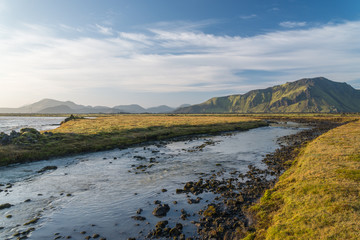 Scenic view of Iceland landscape close to Landmannalaugar NP.