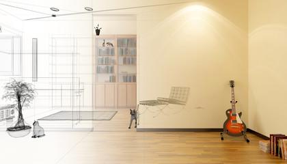 Interno domestico, soggiorno, casa, rendering 3d