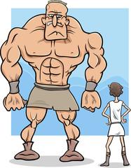 david and goliath cartoon illustration