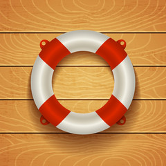 lifebuoy on wooden background