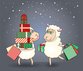 Illustration of two sheep on Christmas shopping