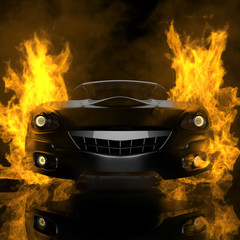 burning brandless sport car