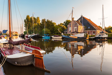 Sailing boats in the Dutch province of Friesland