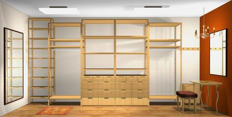 3d interior design, spacious dressing room