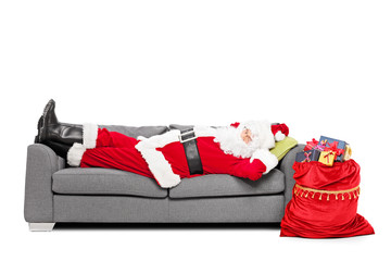 Santa sleeping on sofa