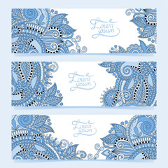 Set of three horizontal banners with decorative blue colour