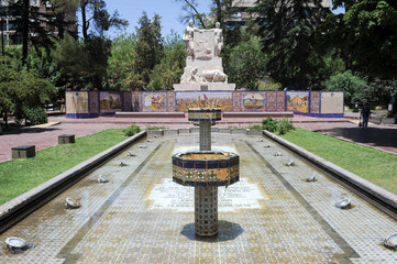 Fountain and monument at Spain square in Mendoza