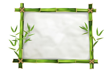 Bamboo frame with realistic paper background