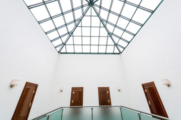 modern building interior glass roof