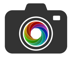 camera icon with color diaphragm