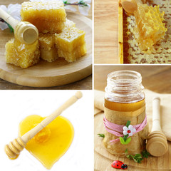 collage honeycomb honey in jar and on a white background
