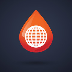 Blood drop icon with a world globe