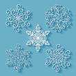 Vector Set of Beautiful Deco Small Snowflakes