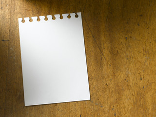 Table top with blank paper