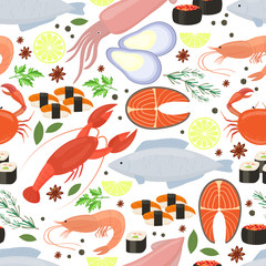 Seafood and spices  background for restaurant menu