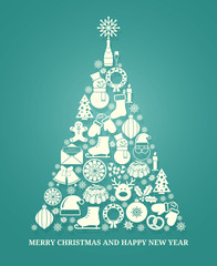Christmas vector greeting card with a tree