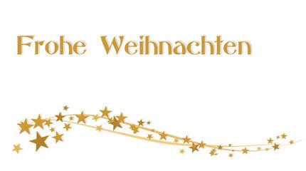 Karte frohe Weihntachten mit goldenen Sternen