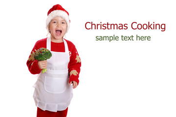 Girl dressed as a Christmas elf on isolated background
