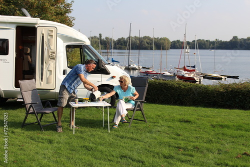 Deurstickers Kamperen Camping Wohnmobil