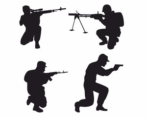 Four soldiers silhouettes
