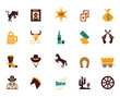 Large set of Western flat vector icons - 72548283