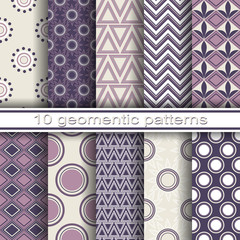 Set of 10 Seamless Geometric Patterns