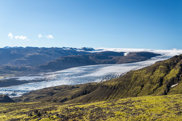 Scenic view of colorful Icelandic glacial landscape.