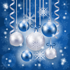 Christmas background in blue and silver on snowflakes background