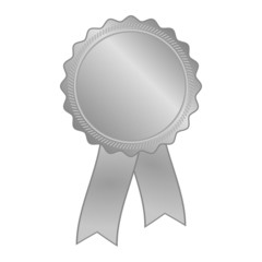 silver rosette with ribbon