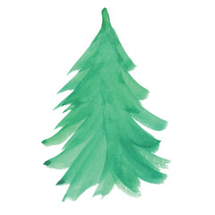 simple watercolor illustration with a Christmas tree