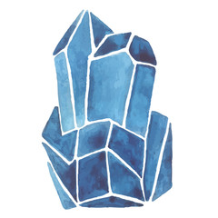 simple watercolor illustration with crystal