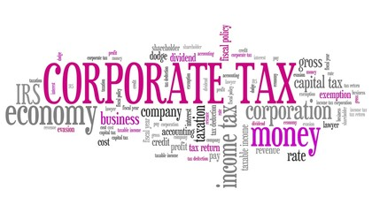 Corporate tax - word cloud concept