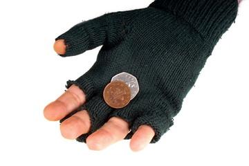 Homeless beggar with glove