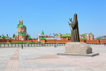 Monument of Patriarch Alexius II and Cathedral in Yoshkar-Ola