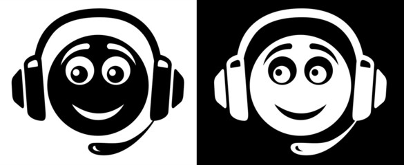 Emoticon with headphones icon