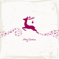 Flying Reindeer, Christmas Ball & Stars Purple Grunge Paper
