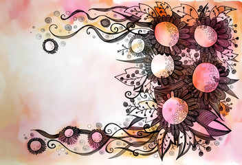 beautiful graphic design of flowers on watercolor background