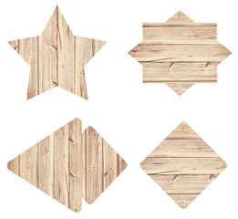 Set of various empty wooden sign or shapes