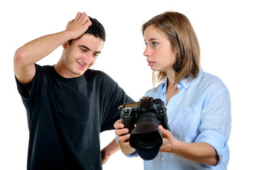 pretty woman photographer and his student