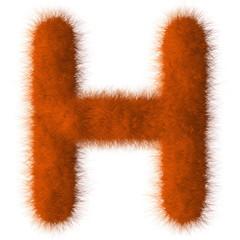 Orange shag H letter isolated on white background