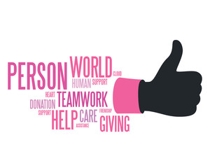 Donation concept with like symbol