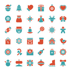 Christmas icons vector set. Christmas decorations objects and sy