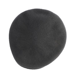 Black woven beret flat-crowned hat isolated