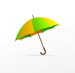 Vector green and yellow umbrella isolated